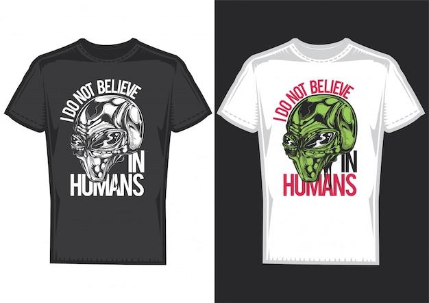Projekt koszulki na 2 koszulkach z plakatami aleinów.
