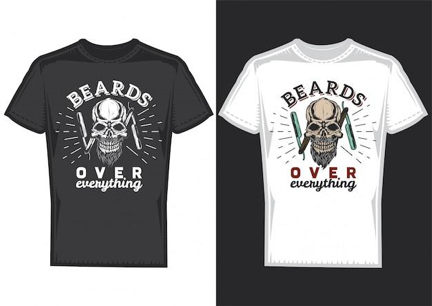 Projekt koszulki na 2 koszulkach z plakatem przedstawiającym czaszkę fryzjera.
