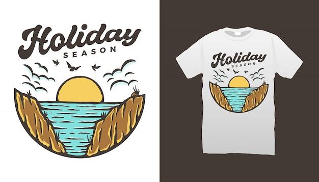 Projekt koszulki na wakacje na plaży