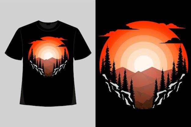 Projekt koszulki natura góry niebo w stylu retro vintage ilustracji