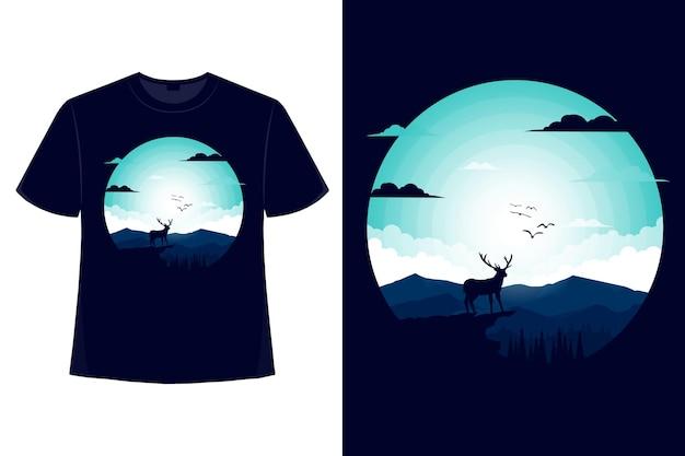 Projekt koszulki natura jeleń góra światło nocne niebo sosna styl płaska ilustracja