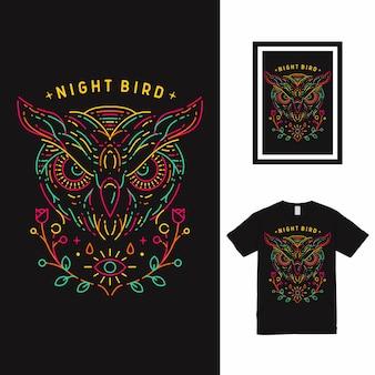 Projekt koszulki night bird sowa line art