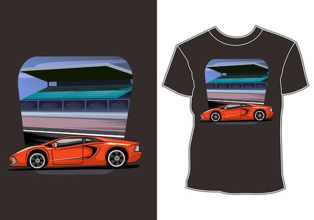 Projekt koszulki nowoczesnego samochodu sportowego