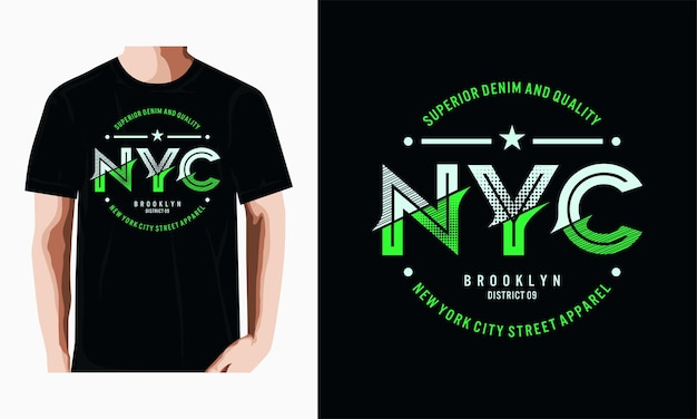 Projekt koszulki nowojorskiej typografii wektor premium