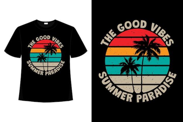 Projekt koszulki o dobrych wibracjach letni raj w stylu retro