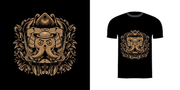 Projekt koszulki ośmiornica samuraj z ornamentem grawerującym