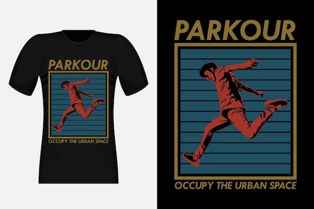 Projekt koszulki parkour occupy the urban space silhouette w stylu vintage