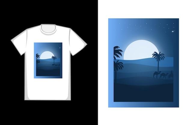 Projekt koszulki piękna niebieska pustynia
