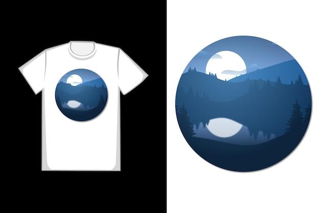 Projekt koszulki piękne jezioro nocą