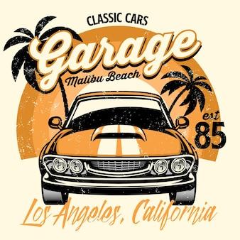 Projekt koszulki plażowej klasycznego amerykańskiego samochodu mięśniowego