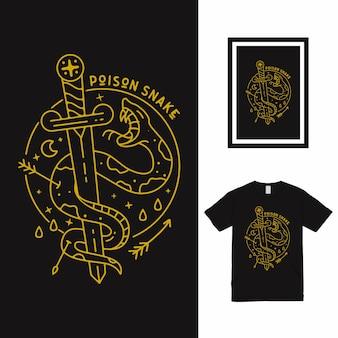 Projekt koszulki poison snake line art