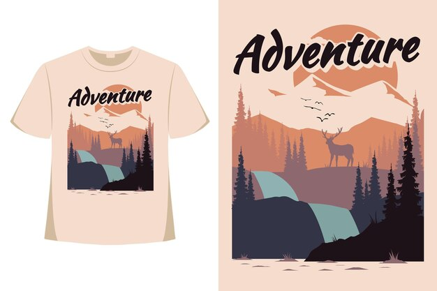 Projekt koszulki przygody jelenia sosna góra płaska natura w stylu retro vintage ilustracja