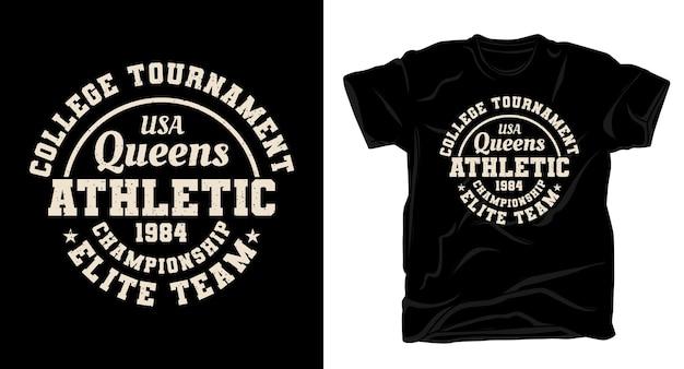 Projekt koszulki queens atletycznej typografii