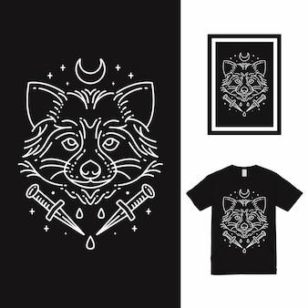 Projekt koszulki raccoon monoline