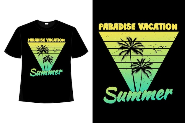 Projekt koszulki rajskie wakacje letnia palma o zachodzie słońca w stylu retro