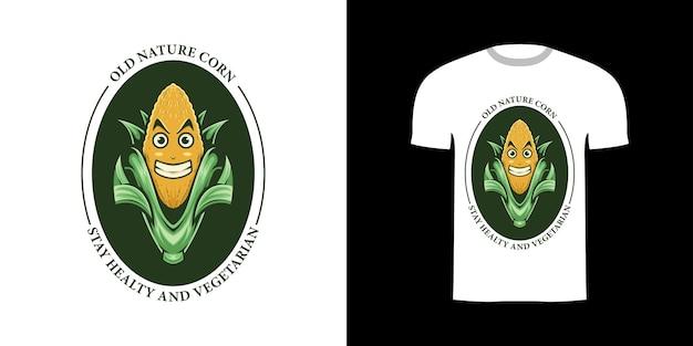 Projekt koszulki retro ilustracja kukurydza