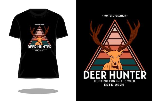 Projekt koszulki retro łowca jeleni