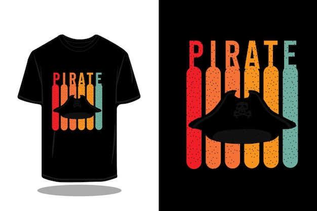 Projekt koszulki retro sylwetka pirata