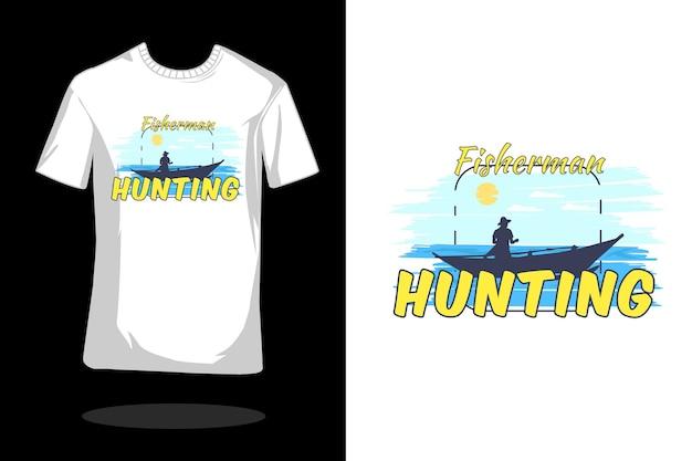 Projekt koszulki retro sylwetka rybaka