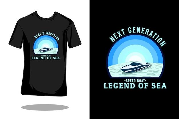 Projekt koszulki retro z łodzią motorową nowej generacji