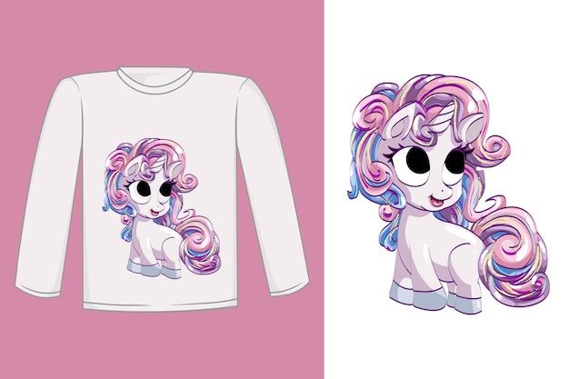 Projekt koszulki śliczny różowy jednorożec