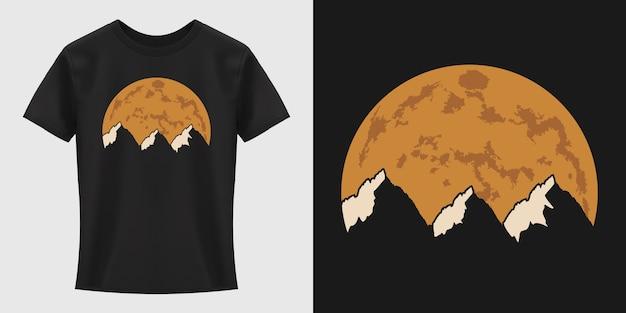 Projekt koszulki słońce i góry