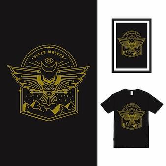 Projekt koszulki sowa mountain line art