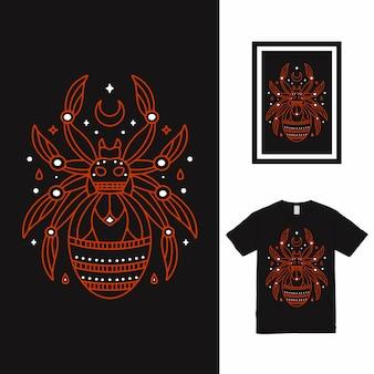 Projekt koszulki spider line art