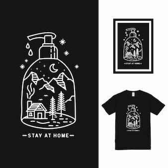 Projekt koszulki stay at home line art
