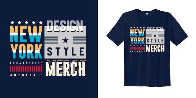 Projekt koszulki streszczenie geometrycznej typografii w nowym jorku