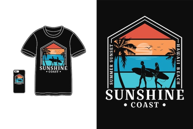 Projekt koszulki sunshine coast sylwetka w stylu retro