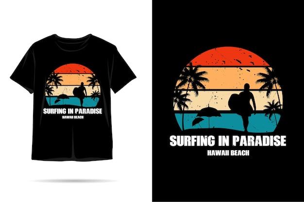 Projekt koszulki surfingowej w raju