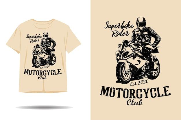 Projekt koszulki sylwetka jeźdźca klubu motocyklowego