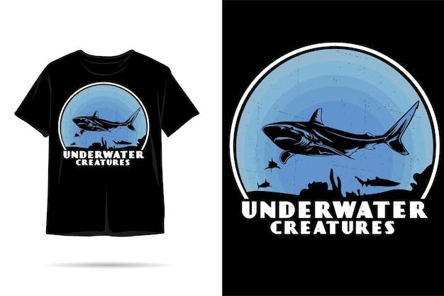 Projekt koszulki sylwetki podwodnych stworzeń