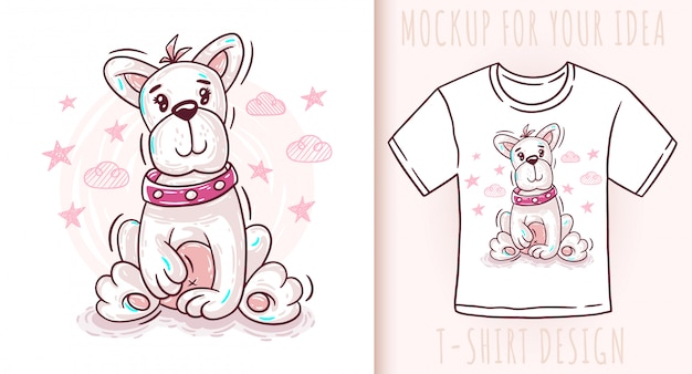 Projekt koszulki szczeniak kreskówka słodkie dziecko pies