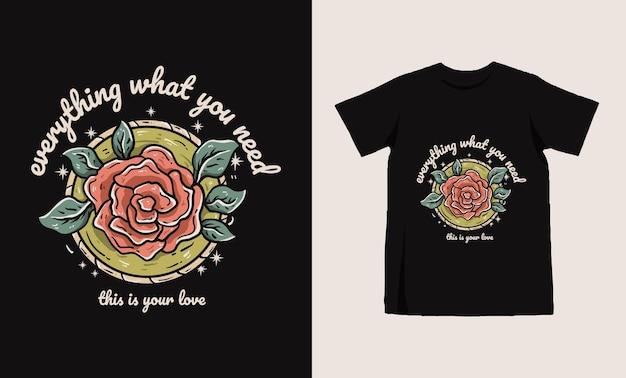 Projekt koszulki tatto ilustracja róża