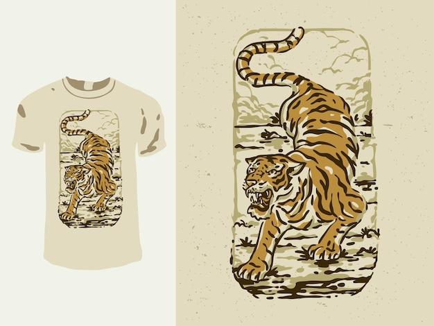 Projekt koszulki tygrysa w japońskim stylu vintage