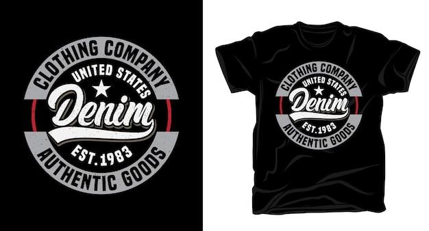 Projekt koszulki typograficznej firmy odzieżowej denim