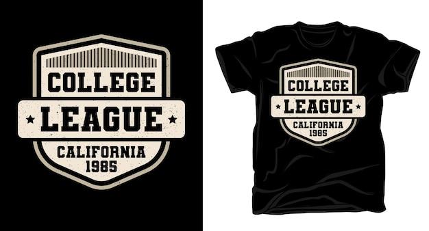 Projekt koszulki typografii college league