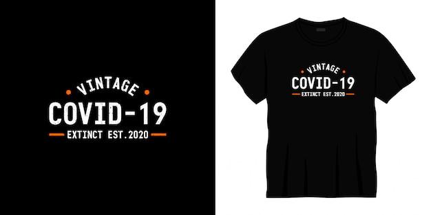 Projekt koszulki typografii covid 19 vintage.