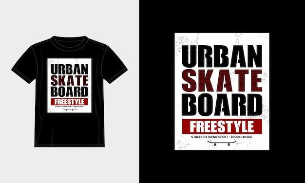 Projekt koszulki typografii miejskiej deskorolki