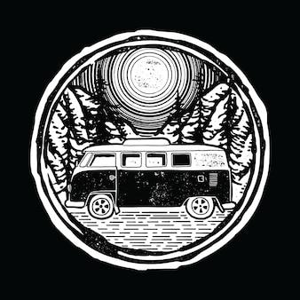 Projekt koszulki van nature lines ilustracja graficzna