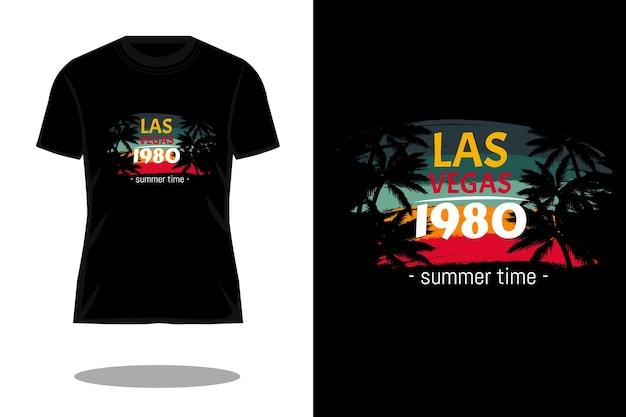 Projekt koszulki vegas 1980 retro sylwetka