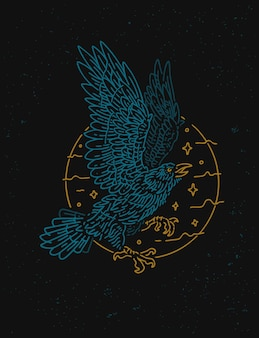 Projekt koszulki vintage monoline raven crow