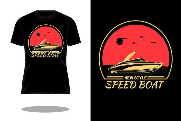 Projekt koszulki w nowym stylu, sylwetka łodzi motorowej w stylu retro