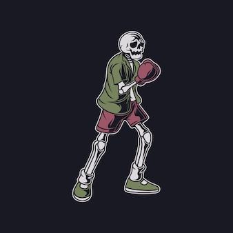 Projekt koszulki w stylu vintage, czaszka przygotowuje się do uderzenia w najlepszą ilustrację boksu