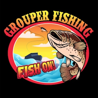 Projekt koszulki wędkarstwa grouper