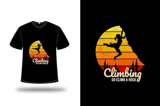 Projekt koszulki. wspinaczka przejdź na skałę wspinaczkową w kolorze żółtym i pomarańczowym