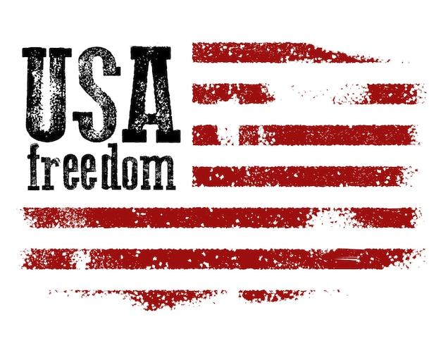 Projekt koszulki z amerykańską flagą i grunge tekstur.