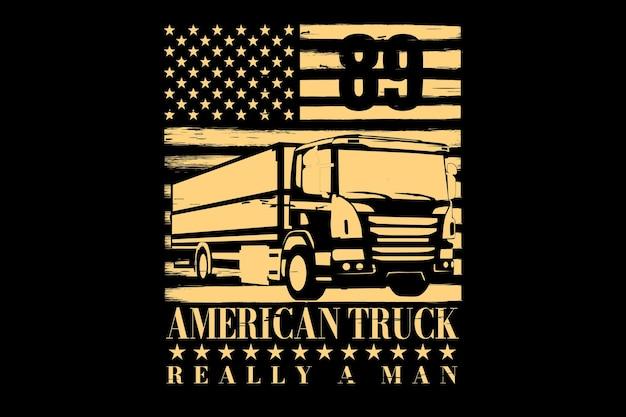 Projekt koszulki z ciężarówką typograficzną amerykańską flagę vintage